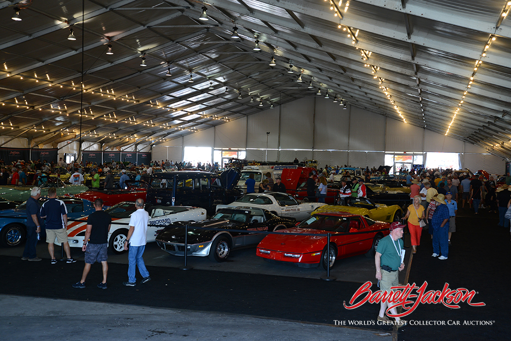Auction attendees check out the John Staluppi Cars of Dreams Collection.