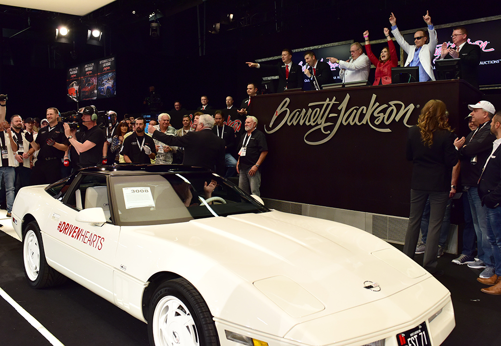 Barrett-Jackson kicked off its first-ever yearlong charity initiative, Driven Hearts, with the sale of this 35th Anniversary Edition Corvette at the 2018 Scottsdale Auction.