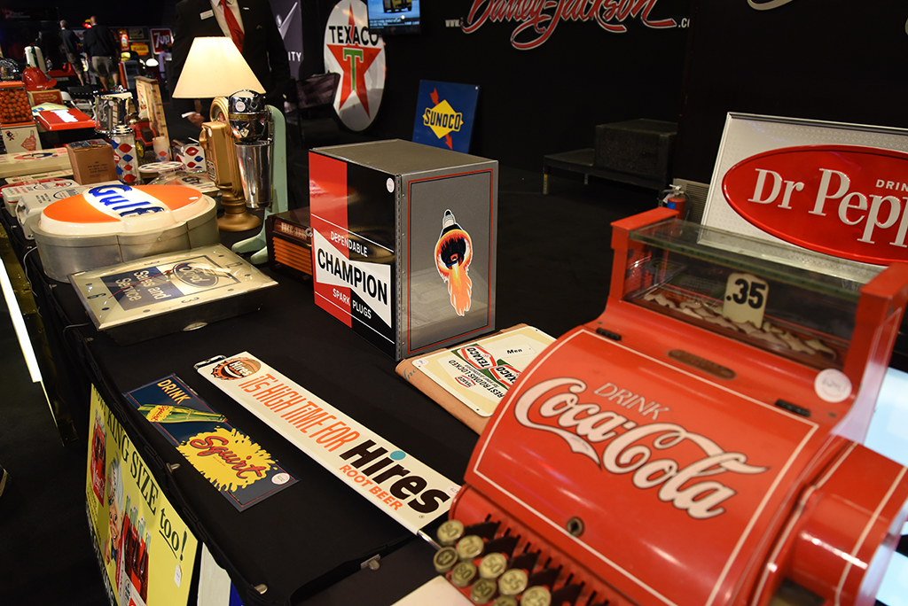 An amazing array of authentic automobilia can be found at any Barrett-Jackson event.