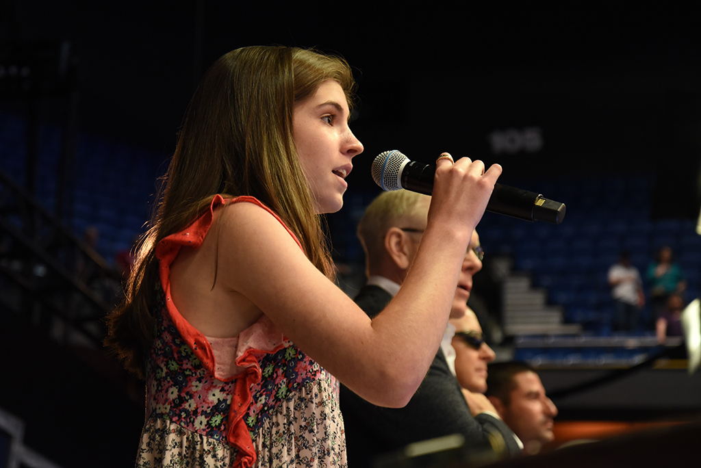 Every Barrett-Jackson Collector Car Auction is opened by the singing of the National Anthem. 14-year-old Ava Cosgrove did the honors on Super Saturday.