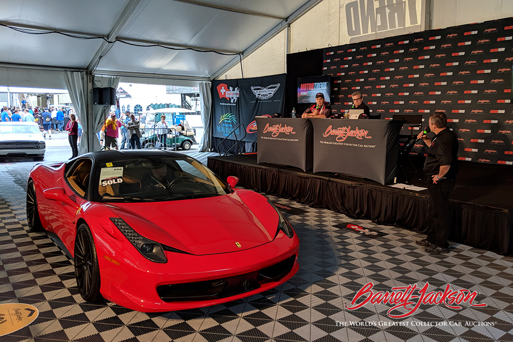 A 2010 Ferrari 458 Italia at the Live Stage after its $170,500 sale.