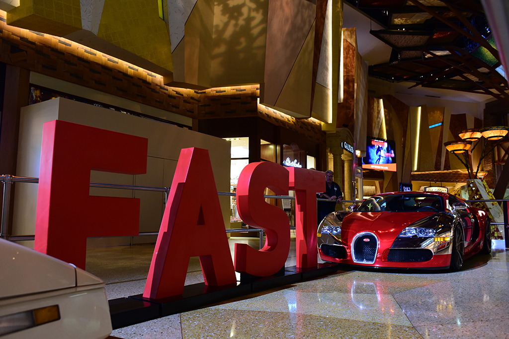 Barrett-Jackson's Driven Hearts charity initiative for the American Heart Association was evident at Mohegan Sun, most prominently with this eye-catching display of a specially wrapped Bugatti Veyron and a giant FAST sign - reminding people at the first signs of Face drooping, Arm tingling, Slurred speech - it's Time to call 9-1-1.