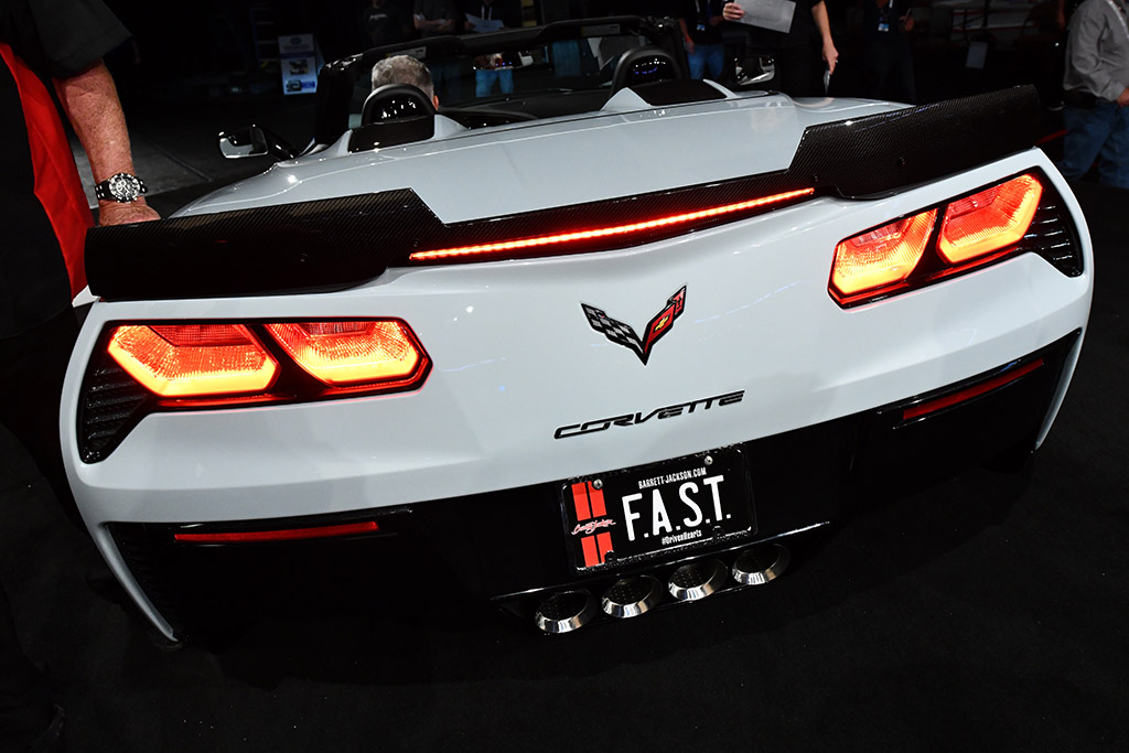 A late-model Corvette sporting its FAST collectible plate.