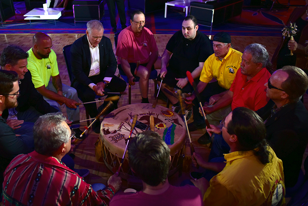 Barrett-Jackson CEO Craig Jackson and President Steve Davis joined members of the Mohegan Tribe for a traditional drum circle to kick off the Opening Night Gala.