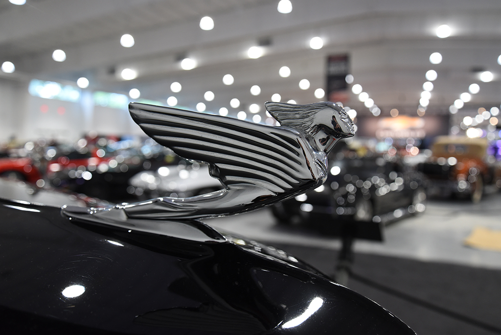 Stunning hood ornament on a 1938 Cadillac.